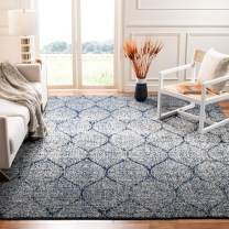 Safavieh Madison Collection MAD604G Geometric Ogee Trellis Distressed Area Rug, 10' x 14', Navy/Silver