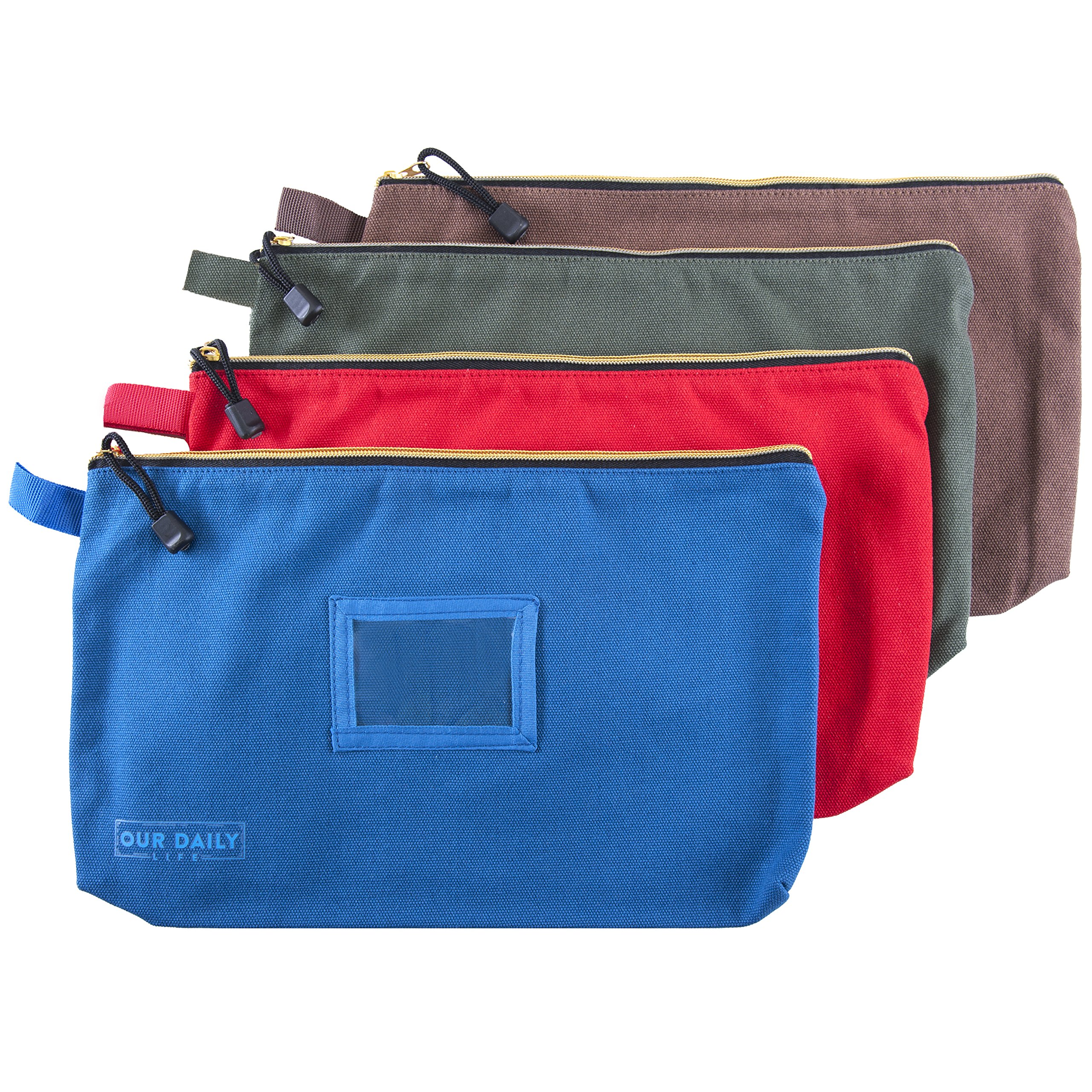 Canvas Zipper Tool Bags - 16 oz Heavy Duty Utility Bag - Water Resistant Multi-Purpose 13.7 inch X 8.5 inch Spacious Storage Pouches - 4 Pack Organizer Set - Tools, Cosmetics, Art and more.