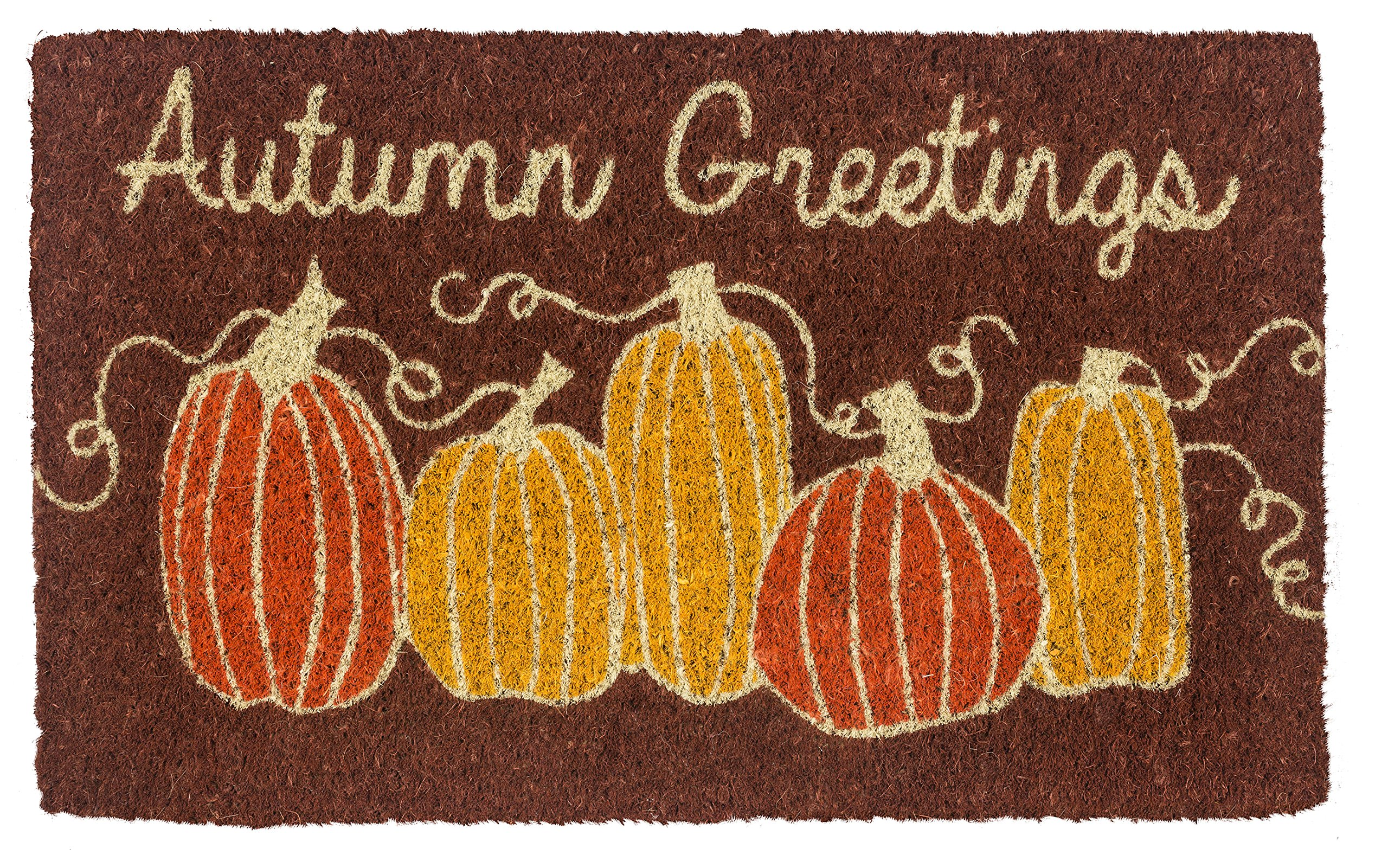 Entryways Autumn Greetings Hand-Stenciled, Handwoven All-Natural Coconut Fiber Coir Doormat, 18 inches by 30 inches by .75 inches