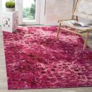 "Safavieh Monaco Collection MNC225F Modern Boho Abstract Watercolor Area Rug, 6' 7"" Square, Fuchsia"