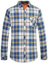 SSLR Men's Thermal Casual Long Sleeve Fleece Plaid Flannel Shirt Jacket