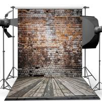 Dudaacvt 8x8 ft Vinyl Photography Backdrop Antique Brick Wall & Wood Floor Hanging Fabric for Studio Props Photo Background MQ0010808