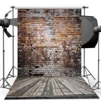 Dudaacvt 8x8 ft Vinyl Photography Backdrop Antique Brick Wall & Wood Floor Hanging Fabric for Studio Props Photo Background MQ0010808