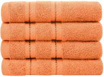 AmericanSoftLinen Premium Turkish Cotton, Luxury Hotel Quality for Maximum Softness & Absorbency for Face, Hand, Kitchen & Cleaning (4-Piece Washcloth Set, Malibu Peach)