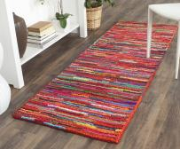 "Safavieh Nantucket Collection NAN142A Handmade Abstract Pink and Multi Cotton Runner Rug (2'3"" x 9')"