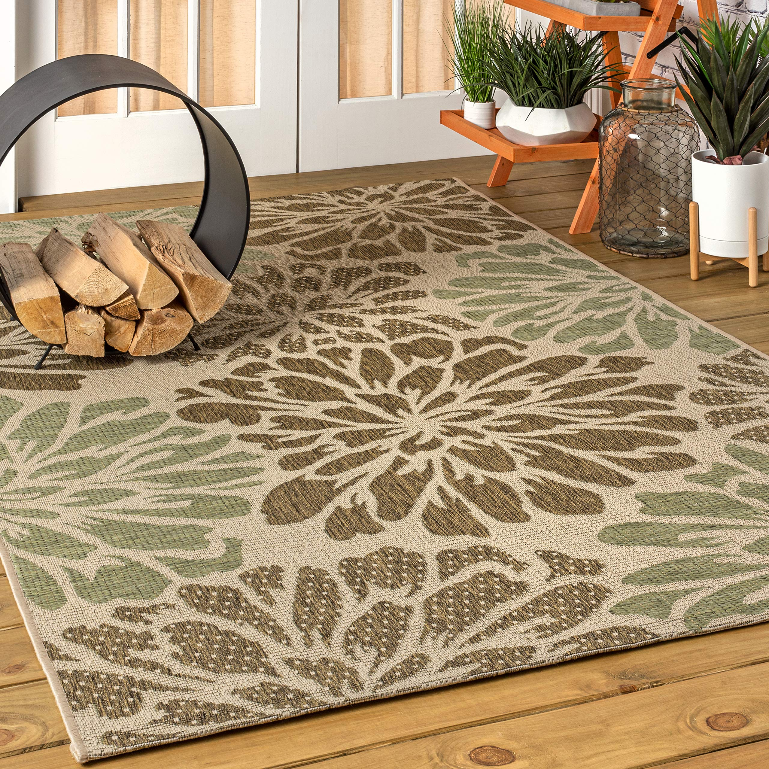 JONATHAN Y SMB110 Zinnia Modern Floral Textured Weave Indoor/Outdoor Sage/Brown 8 ft. x 10 ft. Area RugEasy Cleaning, for High Traffic, Kitchen, Living Room, Backyard