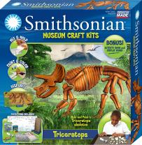"""Smithsonian Award Winning 15"""" Triceratops Perfect Cast Museum Cast, Paint, Display and Learn Craft Kit"""