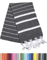 Barcelonetta | Turkish Towel | 40x70in | Beach & Bath Peshtemal | Natural, Eco-Friendly, 100% Cotton, Super Soft, Quick-Dry | Washing Machine, Dryer and Iron Safe | Made in Turkey (Black)