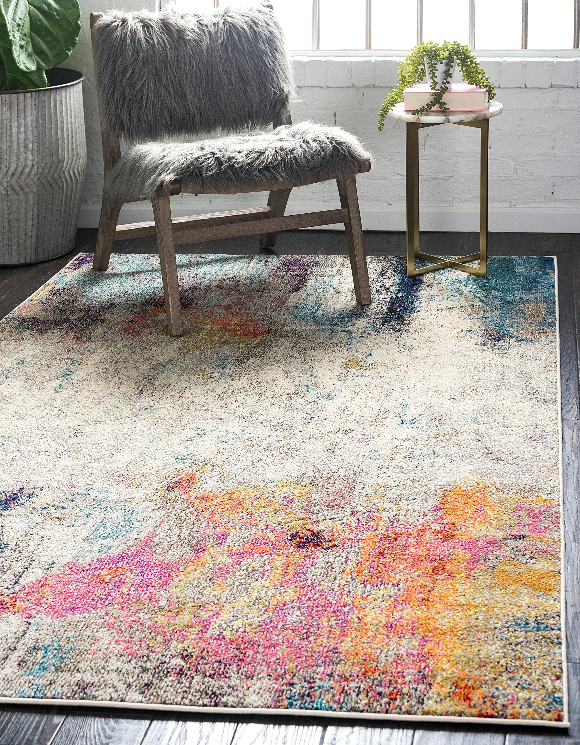 Unique Loom Chromatic Collection Modern Abstract Colorful Beige Area Rug (5' 0 x 8' 0)