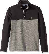 IZOD Men's Premium Essentials Spectator Button Mock Neck Colorblock Fleece Pullover