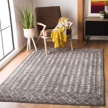 """Safavieh Tulum Collection TUL262F Moroccan Boho Distressed Non-Shedding Stain Resistant Living Room Bedroom Area Rug, 5'3"""" x 7'6"""", Dark Grey / Ivory"""