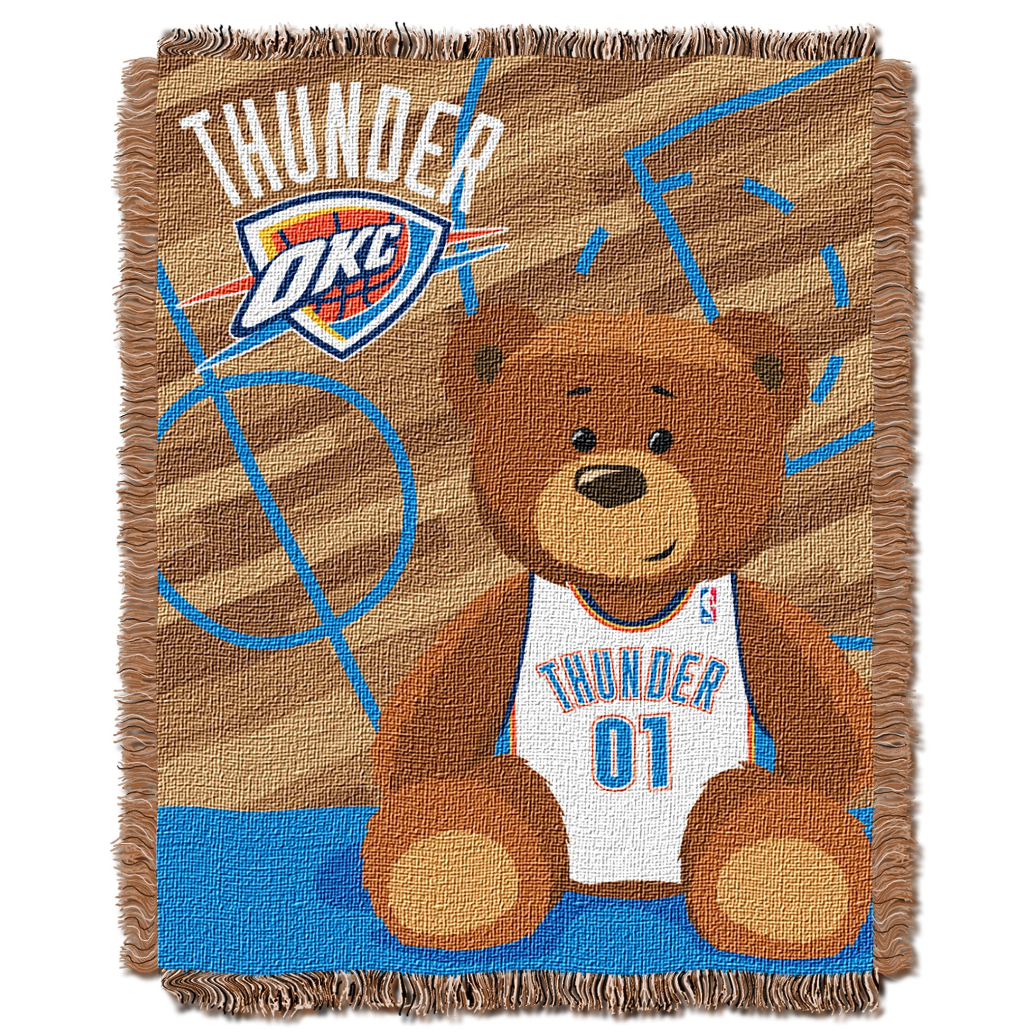 """Officially Licensed NBA """"Half Court"""" Woven Jacquard Baby Throw Blanket, Multi Color, 36"""" x 46"""""""