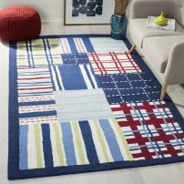 Safavieh Safavieh Kids Collection SFK318A Handmade Blue and Multi Cotton Area Rug (3' x 5')