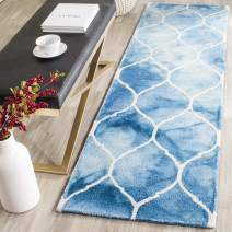 "Safavieh Dip Dye Collection DDY685G Handmade Moroccan Ogee Geometric Watercolor Blue and Ivory Wool Runner (2'3"" x 6')"