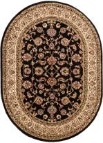 """Noble Sarouk Black Persian Floral Oriental Formal Traditional Area Rug 5x7 ( 5'3"""" x 6'10"""" ) Easy to Clean Stain Fade Resistant Shed Free Modern Contemporary Transitional Soft Living Dining Room Rug"""