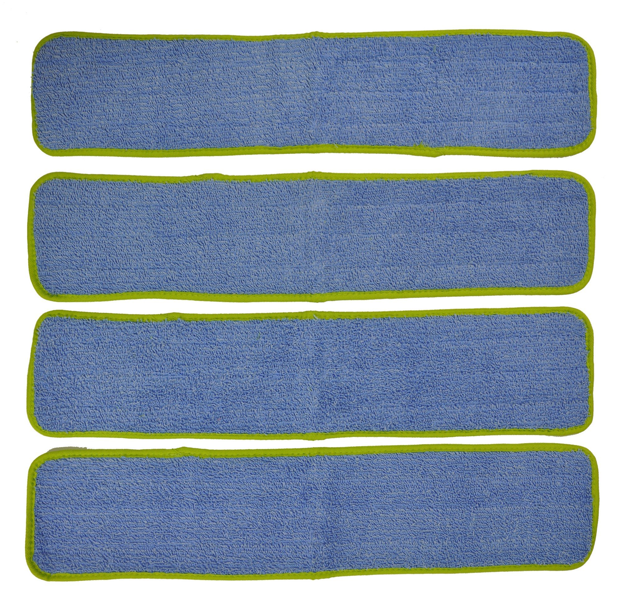 Eurow Commercial Microfiber Wet Mop Pad Refill 24 in Green 4 Pack