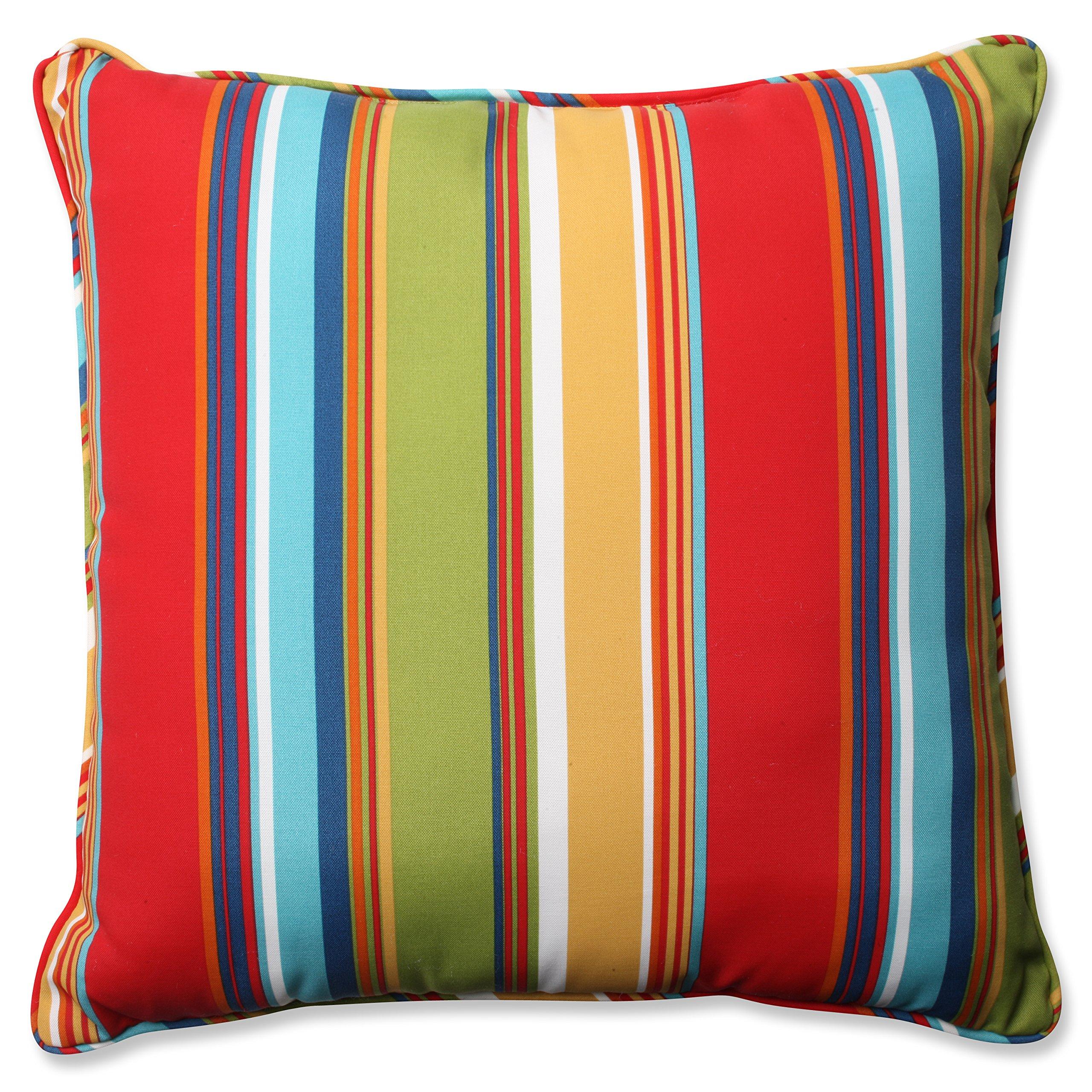 """Pillow Perfect Outdoor/Indoor Westport Garden Floor Pillow, 25"""", Striped, Multicolored"""