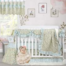 Brandream Baby Girl Crib Bedding Sets Floral Nursery Boho Bedding Country Style 100% Cotton Cradle Set with Ruffle Crib Rail Cover 6 Piece, Baby Shower Gift