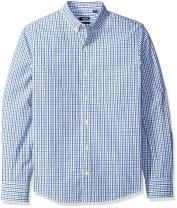 IZOD Men's Slim Fit Button Down Long Sleeve Stretch Performance Tattersal Shirt