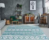 "PRIYATE Florida Collection - Tribal Motif | Non-Shedding, Anti-Slip, Pet friendly rugs for Indoor Outdoor use Like Bedroom, Living room, Home office, Balcony, Deck and More – Ocean Green (5'3"" X 7'6"")"