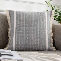 OJIA Modern Throw Pillow Cover with Tassels, Decorative Liana Fringe Accent Cushion Case, Farmhouse Woven Pillowcase for Sofa Chair Couch Bed Decor (20 x 20 inch, Gray)
