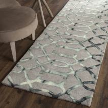 "Safavieh Dip Dye Collection DDY712B Handmade Geometric Watercolor Grey and Charcoal Wool Runner (2'3"" x 6')"