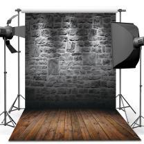 Dudaacvt 10X10ft Vintage Photography Backdrop Brick Wall & Dark Brown Wooden Floor Photography Studio Prop MQ0041010