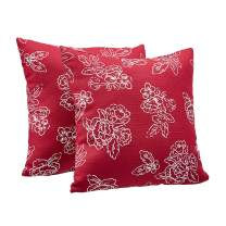 """AmazonBasics 2-Pack Linen Style Decorative Throw Pillows - 18"""" Square, Classic Red Floral"""