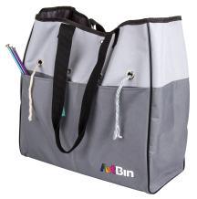 ArtBin 6821AG Yarn Tote, Portable Knitting & Crochet Storage Bag with Lift-Out Yarn Organizer, [1] Poly Canvas Tote Bag, Gray & Black