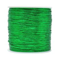 Mandala Crafts Metallic Cord Tinsel String Rope for Ornament Hanging, Decorating, Gift Wrapping, Crafting; Non Elastic 1mm 120 Yards, Green