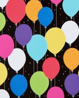 American Greetings Birthday Wrapping Paper, Bright Balloons on Black, 2.5' x 3'
