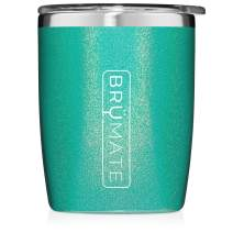 BrüMate Rocks 12oz Insulated Low Ball Cocktail Tumbler With Splash-proof Lid - Made With Triple Insulated Stainless Steel (Glitter Peacock)