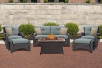 Hanover STRATH6PCFP-BLU-WG Table Outdoor Patio 6 Piece Strathmere Lounge Set, Ocean Blue with Wood Grain Top Fire Pit