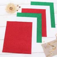 "Threadart Christmas Colors 10"" x 12"" Glitter Heat Transfer Vinyl Precut Sheets | 2 White 2 Red & 2 Green Sheets | Glitter Colors Bundle Pack | For Silhouette Cameo Cricut |HTV"