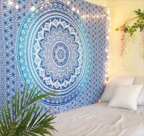 Tapestry Blue Mandala Wall Hanging Psychedelic Tapestries Indian Cotton Twin Bedspread Picnic Sheet Wall Decor Blanket Wall Art Hippie Bedroom Decor