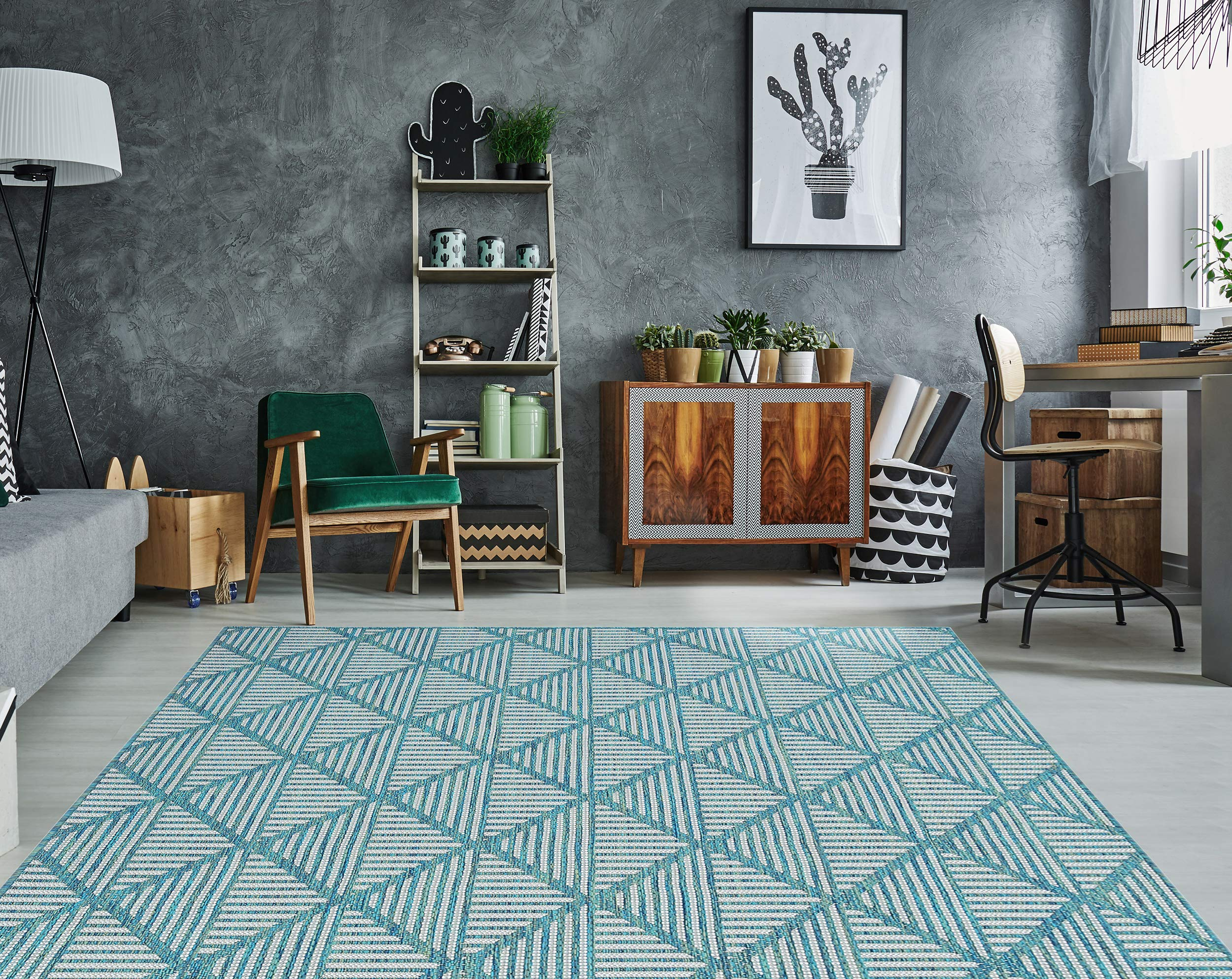 """PRIYATE Florida Collection - Diamond Trellis Indoor/Outdoor Area Rug   All Weather, Water Repellent Rug for Bedroom, Living Room, Dining Room, Patio and More – Ocean Green (7'10"""" X 10')"""
