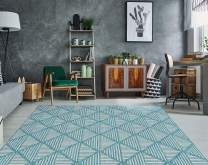 "PRIYATE Florida Collection - Diamond Trellis Indoor/Outdoor Area Rug | All Weather, Water Repellent Rug for Bedroom, Living Room, Dining Room, Patio and More – Ocean Green (7'10"" X 10')"