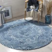 Safavieh Marquee Collection MRQ110D Handmade Wool Area Rug, 6' Round, Blue/Ivory