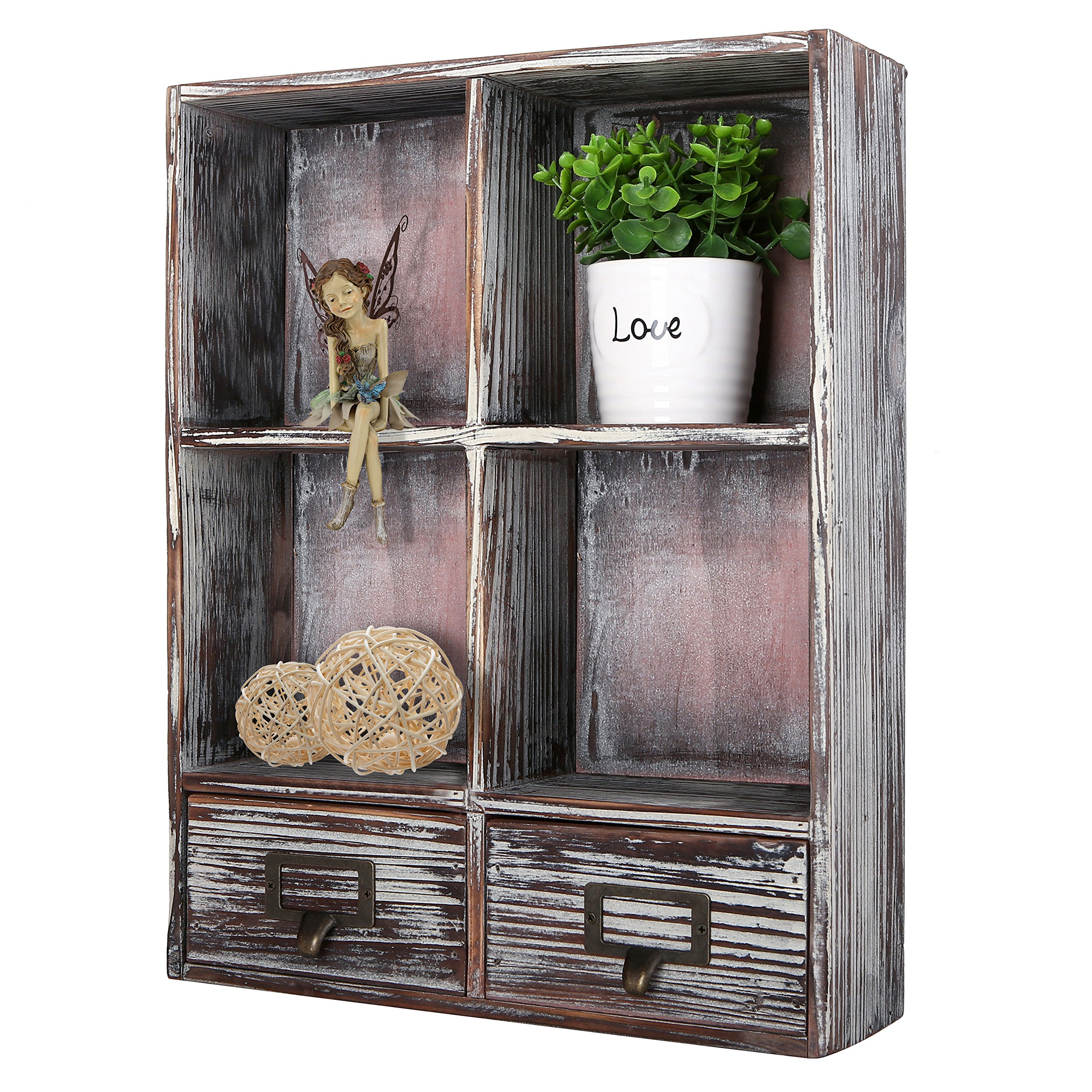 MyGift Rustic Torched Wood Wall Mounted Shadow Box with 4 Cubby Shelving and 2 Drawers with Label Holders