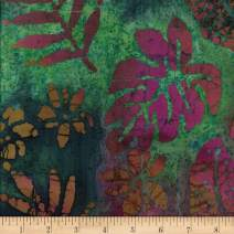 Textile Creations Leaf and Vine Batik Tropical Leaf Fabric, Plum/Teal, Fabric By The Yard