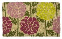 "Entryways Dahlias Handmade, Hand-Stenciled, All-Natural Coconut Fiber Coir Doormat 18"" X 30"" x .75"""