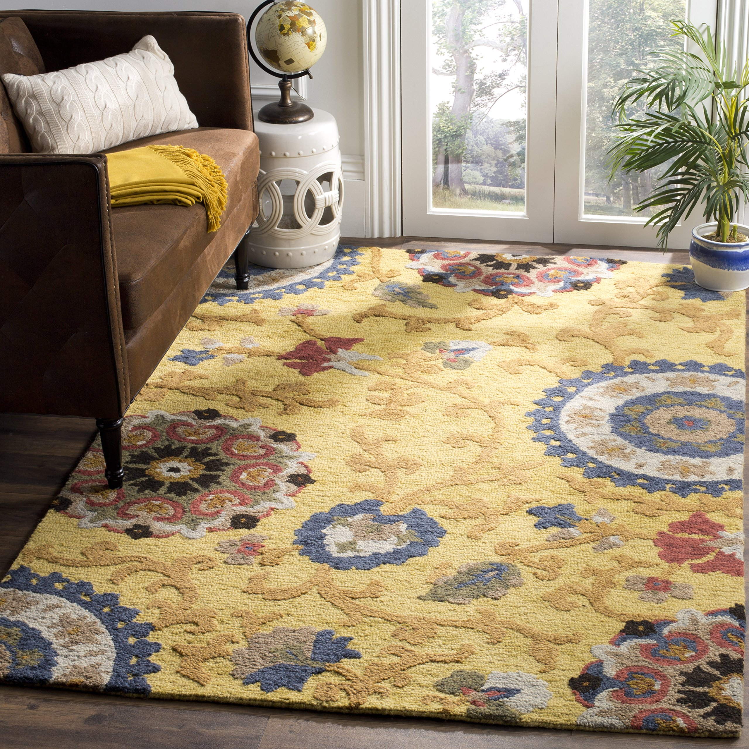 Safavieh Blossom Collection BLM401B Handmade Floral Vines Gold and Multi Premium Wool Area Rug (2' x 3')