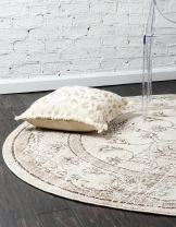 Unique Loom La Jolla Collection Tone-on-Tone Traditional Ivory Round Rug (6' 0 x 6' 0)