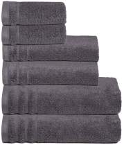 GLAMBURG Premium Quality - Super Soft Zero Twist 6-Piece Towel Set - 100% Pure Cotton - Luxurious Light Weight Quick Dry and Absorbent - Charcoal Grey