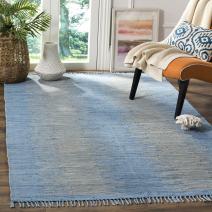 Safavieh Montauk Collection MTK718B Handmade Flatweave Light Blue Cotton Area Rug (8' x 10')