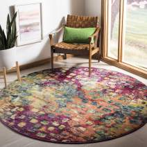 """Safavieh Monaco Collection MNC225D Modern Boho Abstract Watercolor Area Rug, 6' 7"""" Round, Pink/Multi"""