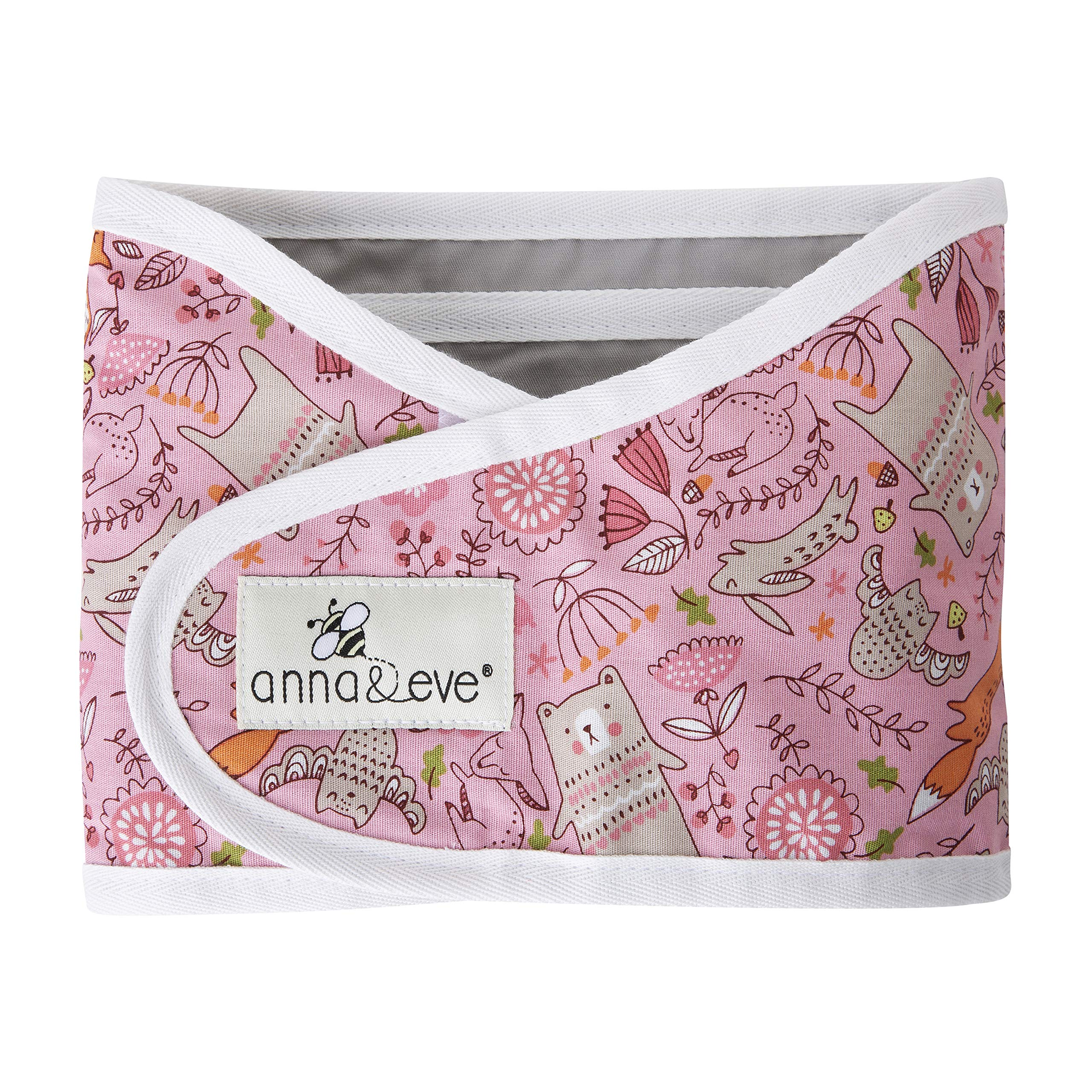 Anna & Eve - Baby Swaddle Strap, Adjustable Arms Only Wrap for Safe Sleeping - Small Size Fits Chest 13.5 to 17, Woodland Pink