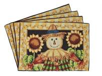 """Tache Sunflower Field Scarecrow Thanksgiving Autumn Fall Harvest Country Farmhouse Vintage Black Gold Decorative Woven Tapestry Dining Table Kitchen Placemats, 13x19"""""""