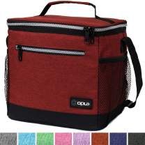 OPUX Insulated Large Lunch Bag, Men Women | Meal Prep Lunch Box for Adult, Kids | Soft Leakproof Lunch Pail Cooler Bag with Shoulder Strap for Work, School, Beach | Fits 18 Cans (Heather Red)