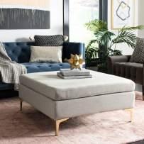 Safavieh Home Giovanna 36-inch Light Grey and Brass Square Ottoman